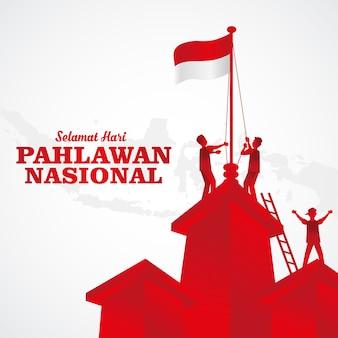Illustratie. selamat hari pahlawan nasional. vertaling: gelukkig indonesische nationale helden dag. geschikt voor wenskaart, poster en banner