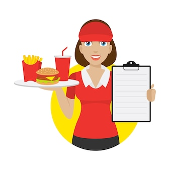 Illustratie serveerster houdt dienblad en toont menu, formaat eps 10