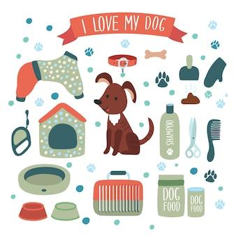 Illustratie set accessoires voor hond