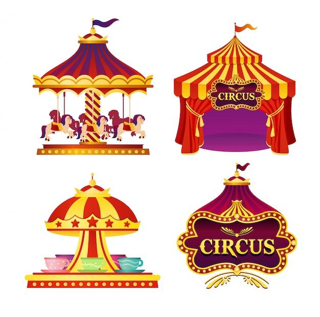Illustratie set carnaval circus emblemen, pictogrammen met tent, carrousels, vlaggen op witte achtergrond in felle kleuren.