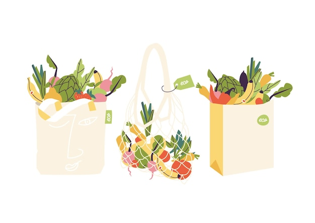 Illustratie set eco boodschappentassen met producten