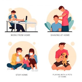 Illustratie set karakter van de activiteiten van mensen thuis, platte ontwerpconcept