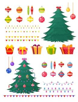 Illustratie set kerstversiering en geschenkdozen.
