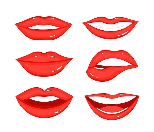 Illustratie set lip gebaren van de vrouw. de meisjesmonden in verschillende posities, emoties, sluiten omhoog met rode lippenstiftmake-up in vlakke stijl op witte achtergrond.