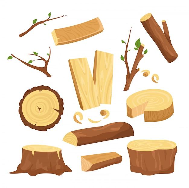 Illustratie set materialen voor houtindustrie, boomstammen, houten stammen, gehakte houten planken van brandhout, stronk, twijgen en stammen in cartoon e.
