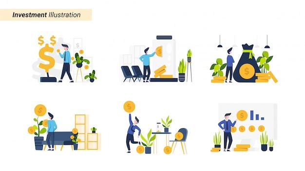 Illustratie set mensen investeren in aandelen en activa, geschikt voor bestemmingspagina