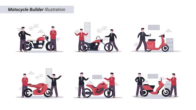 Illustratie set monteur maakt aangepaste motorfietsen voor zijn klanten in de garage