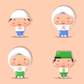 Illustratie set moslim karakters van jongens en meisjes. ramadan mascotte