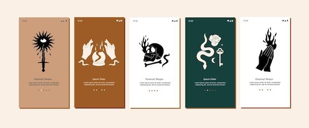 Illustratie set mystieke pictogrammen en emblemen voor mobiele app of bestemmingspagina