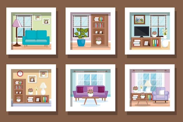 Illustratie set scènes interieur van huis