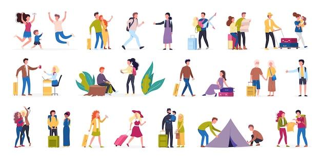 Illustratie set toerist met bagage en handtas. familie-uitstapje, vakantie met vrienden. verzameling karakters op hun reis, familievakantie. reizen en toerisme concept