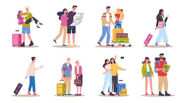 Illustratie set toerist met bagage en handtas. familie-uitstapje, zakenman met een koffer. verzameling personages op reis, familievakantie of zakenreis