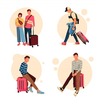 Illustratie set toeristische karakter met zijn koffer activiteit, platte ontwerpconcept