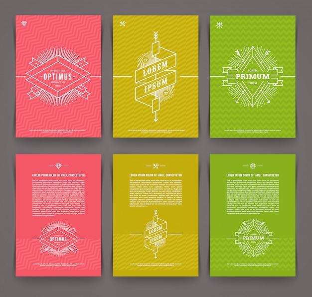 Illustratie - set van abstracte sjabloon flyer-pagina met lijn getrokken embleem