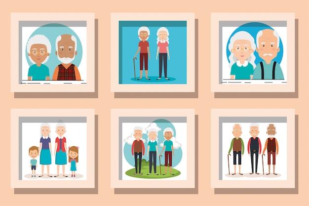 Illustratie set van grootouders met kleinkinderen