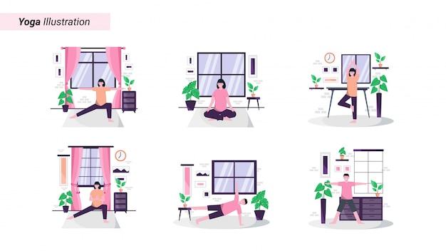 Illustratie set van het doen van yoga-oefeningen thuis elke ochtend om een gezond lichaam te behouden