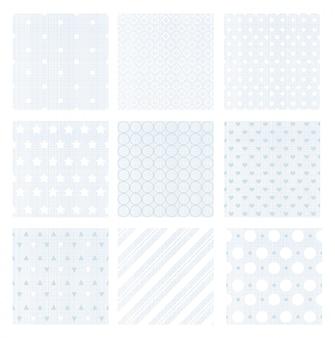 Illustratie set van negen zachte verschoten blauwe retro naadloze patronen op linnen achtergrond.
