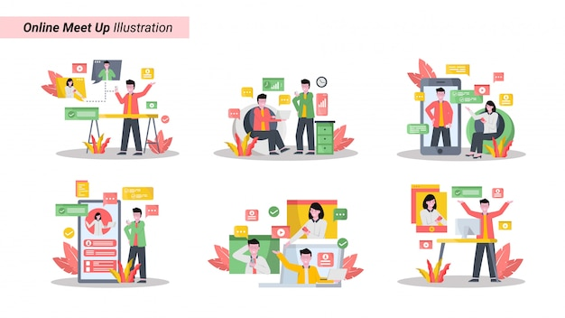 Illustratie set van online ontmoetingen samen met behulp van tablets, smartphones en laptops