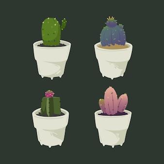Illustratie set van schattige mini cactus pack