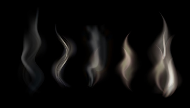 Illustratie set van transparante rook op een zwarte achtergrond.