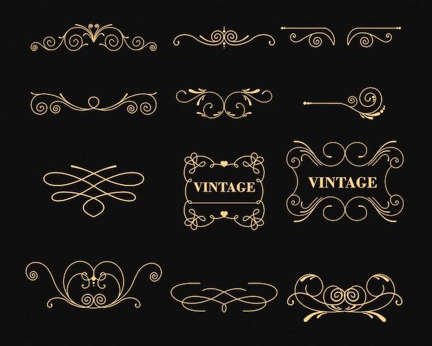 Illustratie set vintage grafische s voor decoratie op zwarte achtergrond. embleem, heraldisch monogram. kalligrafische bloemen. gouden lijsten.