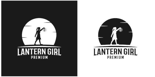 Illustratie silhouet lantaarn meisje premium vector