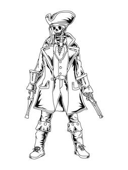 Illustratie skelet piraat beker
