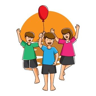 Illustratie spelen met vrienden