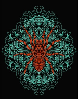 Illustratie spin met gravure ornament