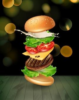 Illustratie springende hamburgeradvertenties ontplofte hamburger