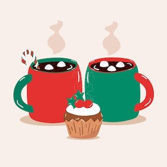 Illustratie stomende warme chocolademelk met marshmallows in beker met cupcakes vector