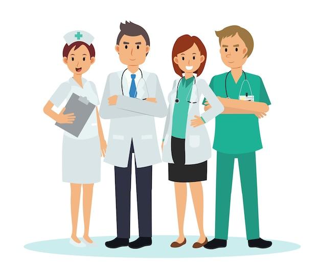 Illustratie stripfiguur van medisch team en personeel, dokter verpleegsters