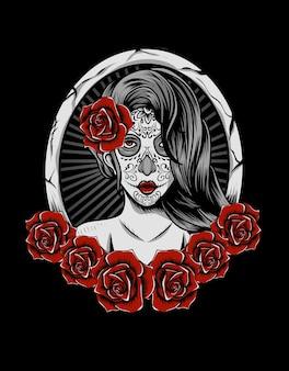 Illustratie suikerschedel vrouw met roze bloem