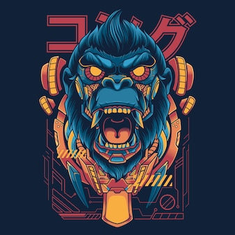 Illustratie t-shirtontwerp mechanisch kong