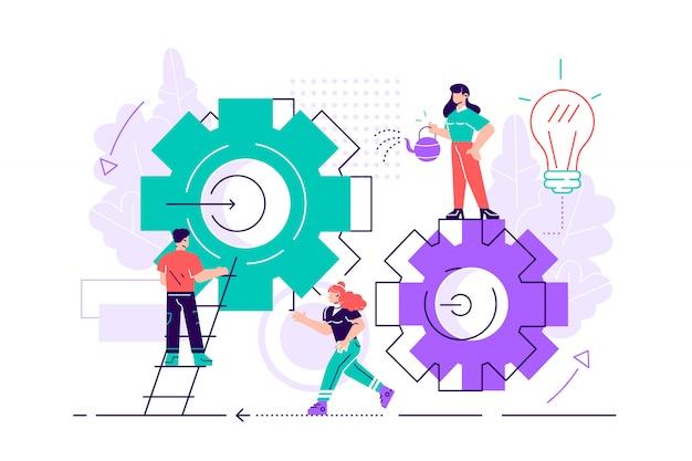 Illustratie. teamwork bij het vinden van nieuwe ideeën. kleine mensen lanceren een mechanisme, zoeken naar nieuwe oplossingen. creatief werk. vlakke stijl illustratie voor webpagina's, sociale media, documenten.