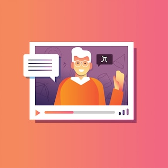 Illustratie terug naar school van man webinar uitleggen, online conferentie, online cursusonderwijs