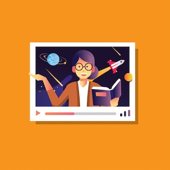 Illustratie terug naar school van vrouwelijke uitleggen astronomie melkwegstelsel, online conferentie, online cursusonderwijs