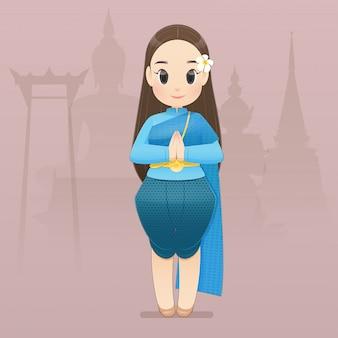 Illustratie thaise vrouwen in thaise traditionele slijtage zeggen hallo sawasdee. hallo, sawadee met bangkok-achtergrond. vlakke karakter illustratie.