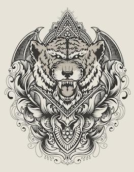 Illustratie tijger hoofd met vintage gravure ornament