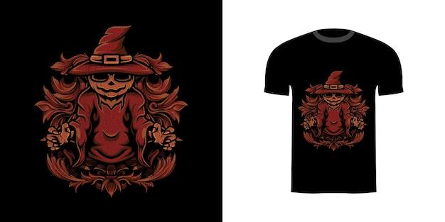 Illustratie tovenaar pompoen met gravure ornament voor t-shirt design