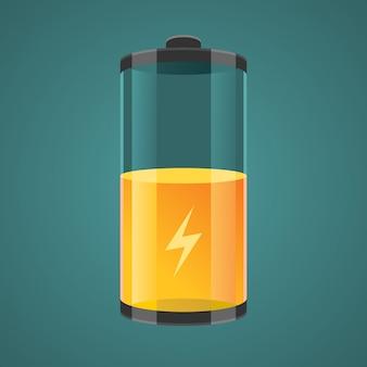 Illustratie transparant opgeladen batterijen.