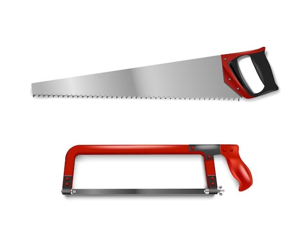 Illustratie twee handzagen met rode handgreep. handzaag voor het zagen van metaal en boom