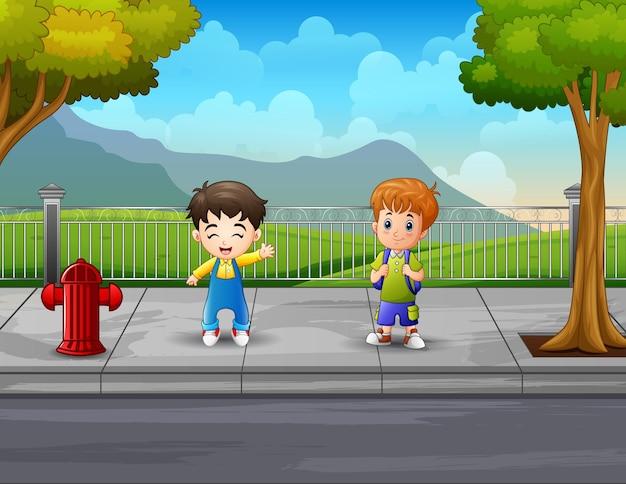 Illustratie twee jongens op de stoep