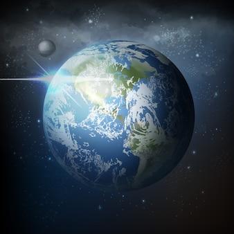 Illustratie uitzicht vanuit de ruimte van realistische planeet aarde met maan in universum met melkweg op achtergrond