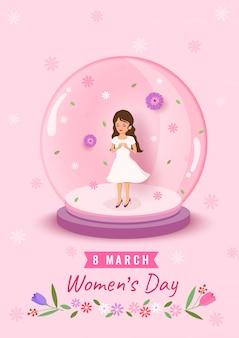 Illustratie van 8 maart women's day design met vrouw in de wereld bal versierd met bloemen