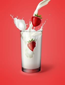 Illustratie van aardbeien met melk in glas met spatten gegoten