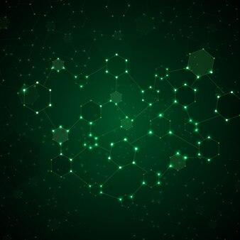 Illustratie van abstract molecule dna gloeiende achtergrond