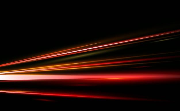 Illustratie van abstract, wetenschap, futuristisch, energietechnologieconcept. afbeelding van lijnen met licht, snelheid op zwarte achtergrond.