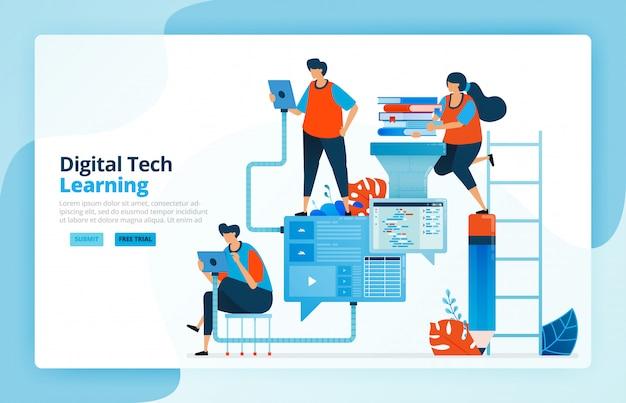 Illustratie van activiteiten uit moderne leerprocessen met technologie, efficiëntie in het onderwijs en afstandsonderwijs. communicatie met leerlingen.