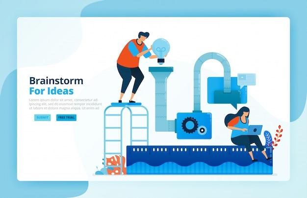 Illustratie van activiteiten van probleemoplossend proces en onderzoeksidee met brainstorming. teamwork samenwerking, machines en discussies.